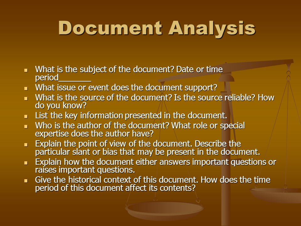 Document Analysis Document Analysis What is the subject of the document.