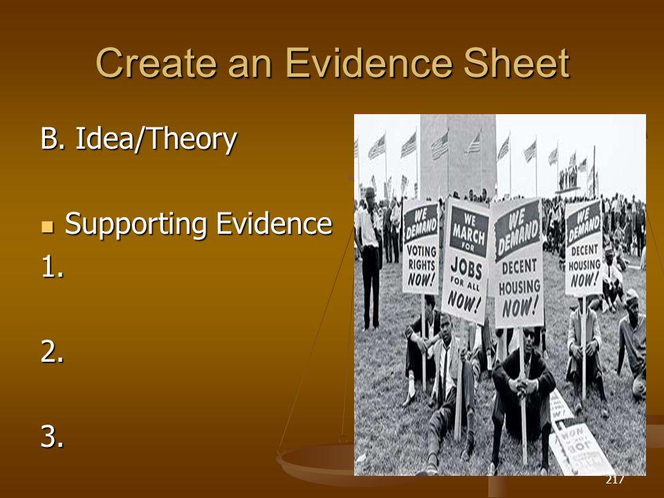 Create an Evidence Sheet B. Idea/Theory Supporting Evidence Supporting Evidence1. 2.3. 4. 4. 217