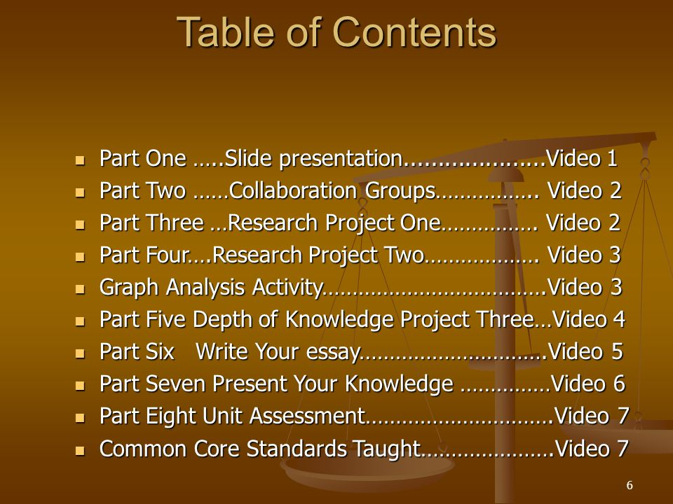 Table of Contents Part One …..Slide presentation.....................Video 1 Part One …..Slide presentation.....................Video 1 Part Two ……Collaboration Groups……………..