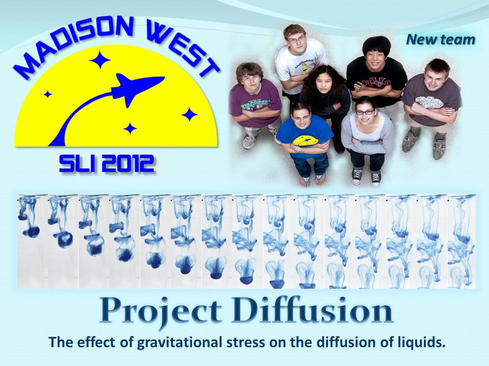 The effect of gravitational stress on the diffusion of liquids. New team