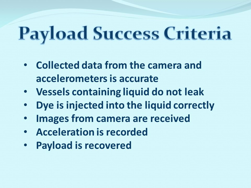 Collected data from the camera and accelerometers is accurate Vessels containing liquid do not leak Dye is injected into the liquid correctly Images from camera are received Acceleration is recorded Payload is recovered