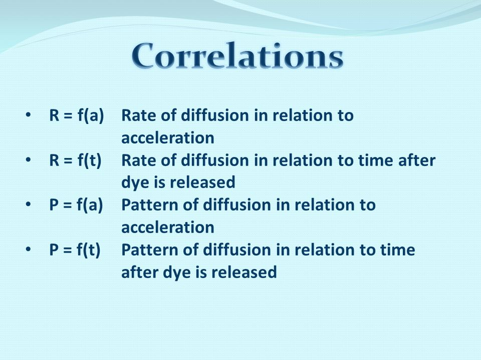 R = f(a) Rate of diffusion in relation to acceleration R = f(t) Rate of diffusion in relation to time after dye is released P = f(a) Pattern of diffusion in relation to acceleration P = f(t)Pattern of diffusion in relation to time after dye is released