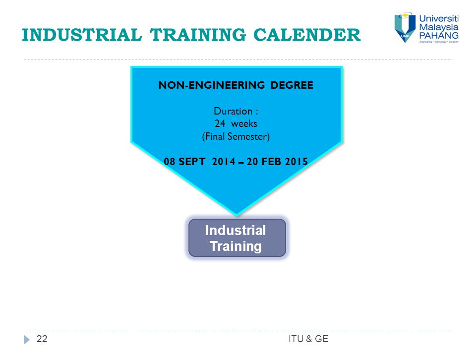 22 INDUSTRIAL TRAINING CALENDER 22 NON-ENGINEERING DEGREE Duration : 24 weeks (Final Semester) 08 SEPT 2014 – 20 FEB 2015 NON-ENGINEERING DEGREE Durat