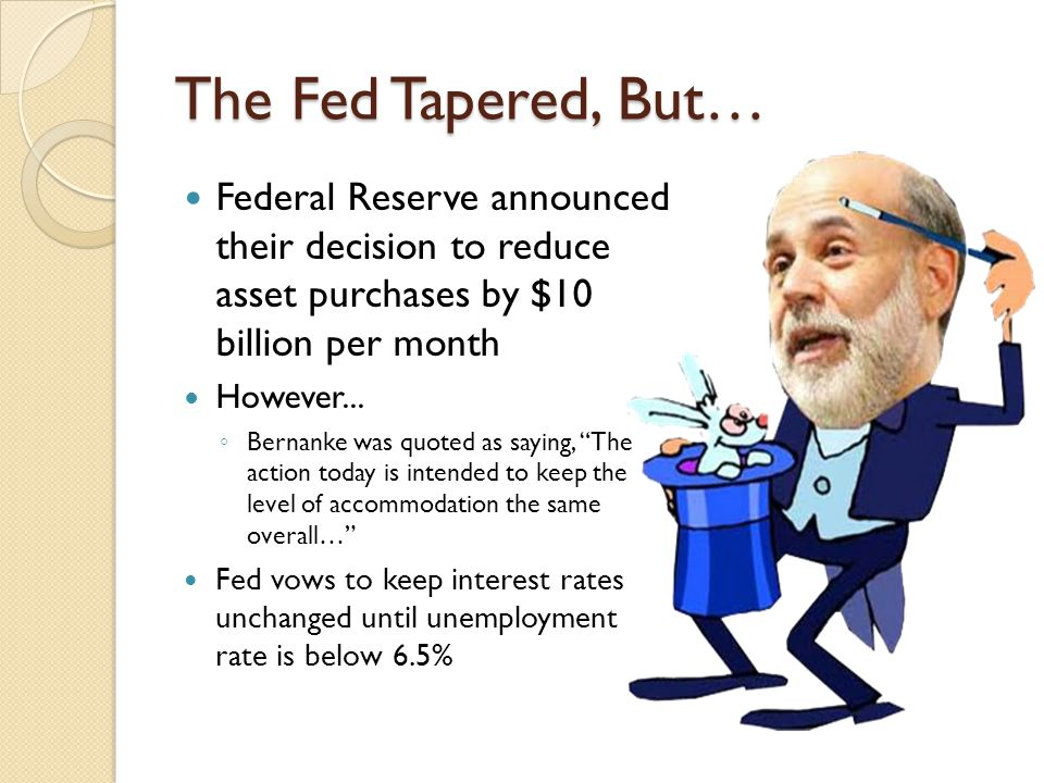 The Fed Tapered, But… Federal Reserve announced their decision to reduce asset purchases by $10 billion per month However...