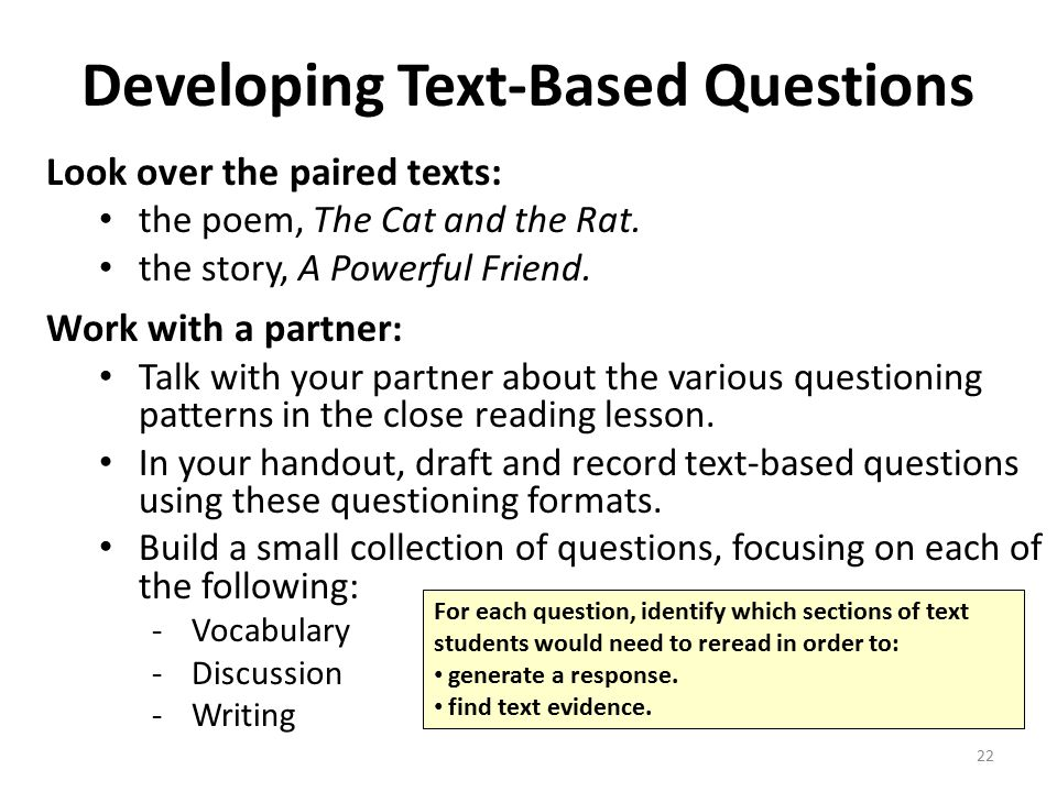 Developing Text-Based Questions Look over the paired texts: the poem, The Cat and the Rat.