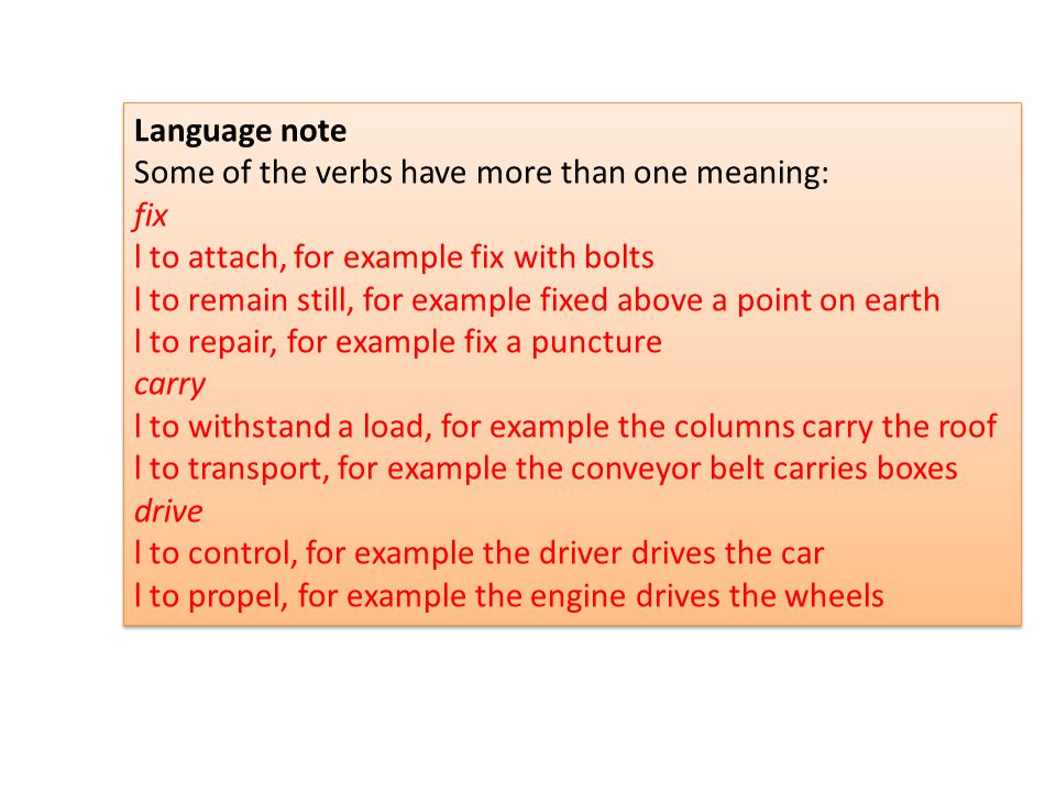 Language note Some of the verbs have more than one meaning: fix l to attach, for example fix with bolts l to remain still, for example fixed above a p