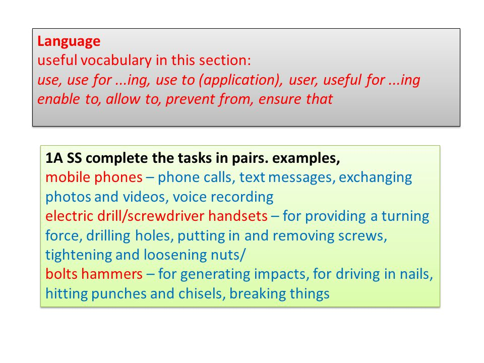 Language useful vocabulary in this section: use, use for...ing, use to (application), user, useful for...ing enable to, allow to, prevent from, ensure