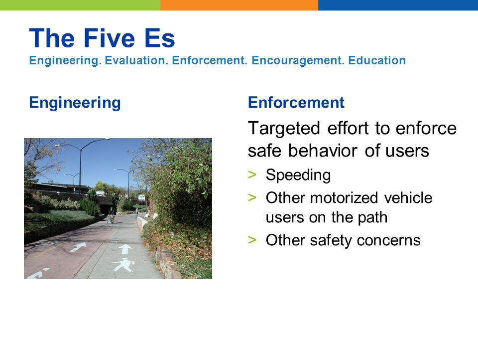 The Five Es Engineering. Evaluation. Enforcement.
