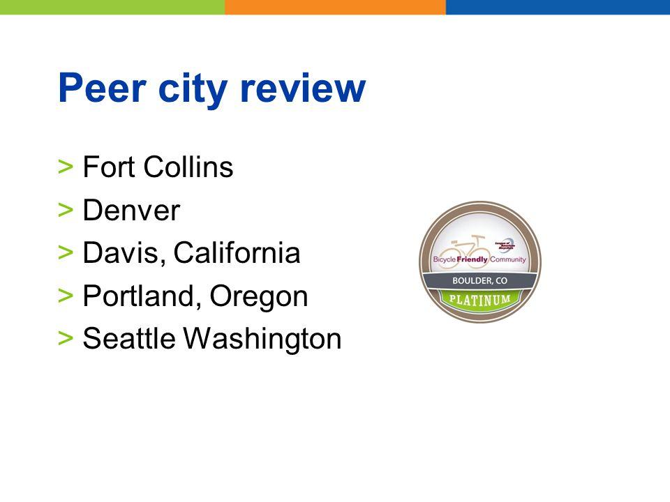 Peer city review >Fort Collins >Denver >Davis, California >Portland, Oregon >Seattle Washington