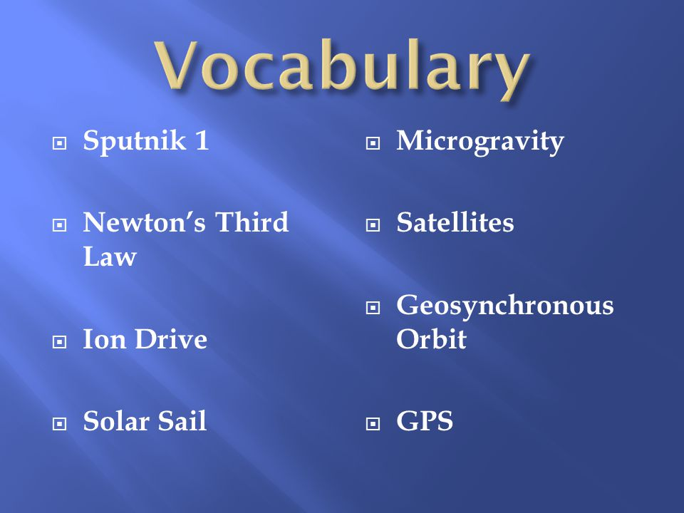 Sputnik 1  Newton's Third Law  Ion Drive  Solar Sail  Microgravity  Satellites  Geosynchronous Orbit  GPS