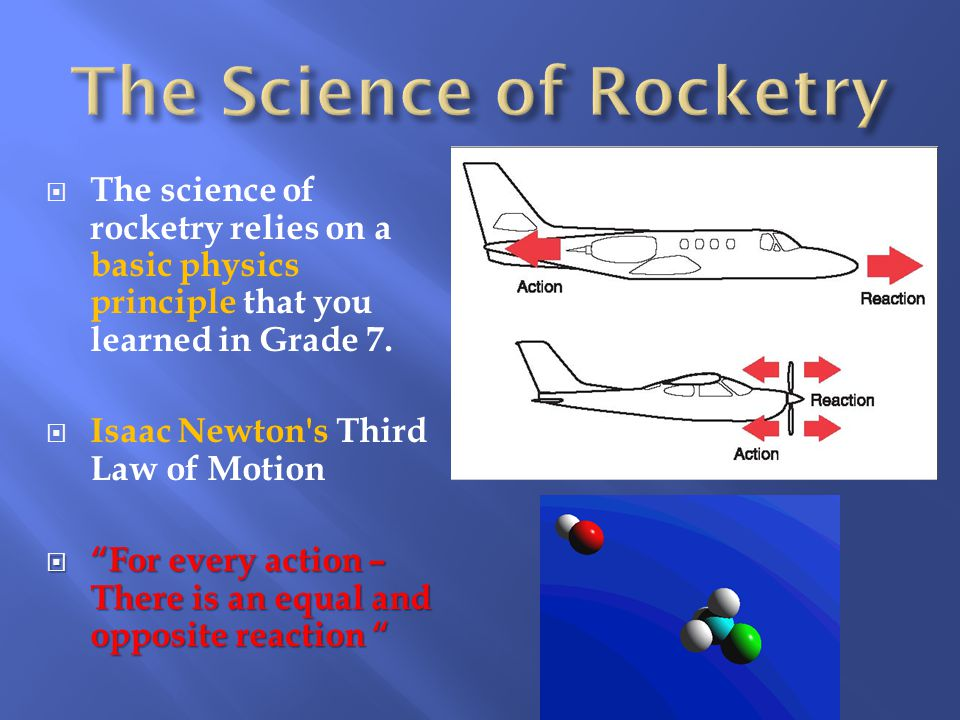  The science of rocketry relies on a basic physics principle that you learned in Grade 7.