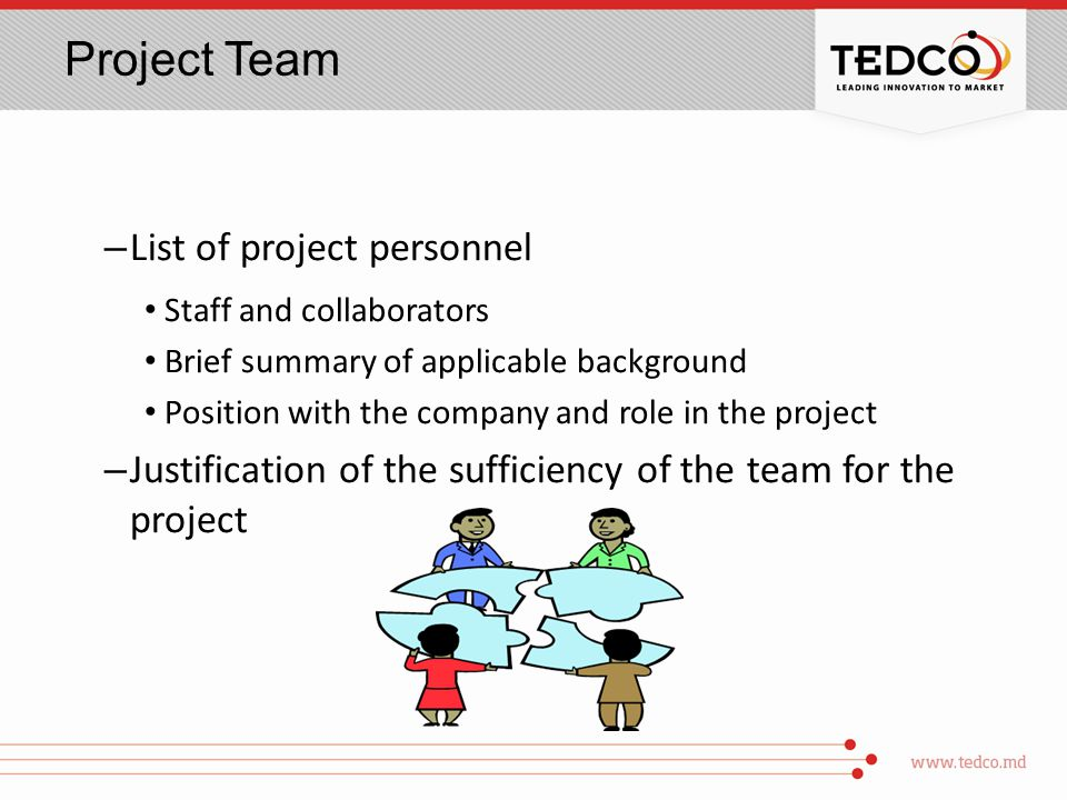 Project Team – List of project personnel Staff and collaborators Brief summary of applicable background Position with the company and role in the project – Justification of the sufficiency of the team for the project