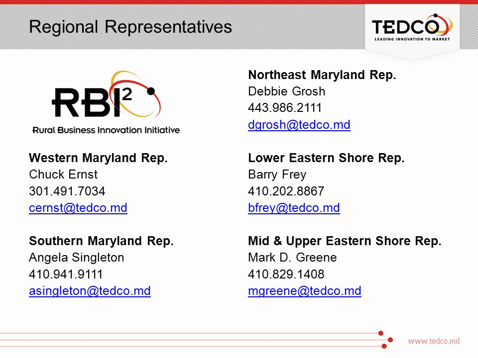 Regional Representatives Western Maryland Rep.