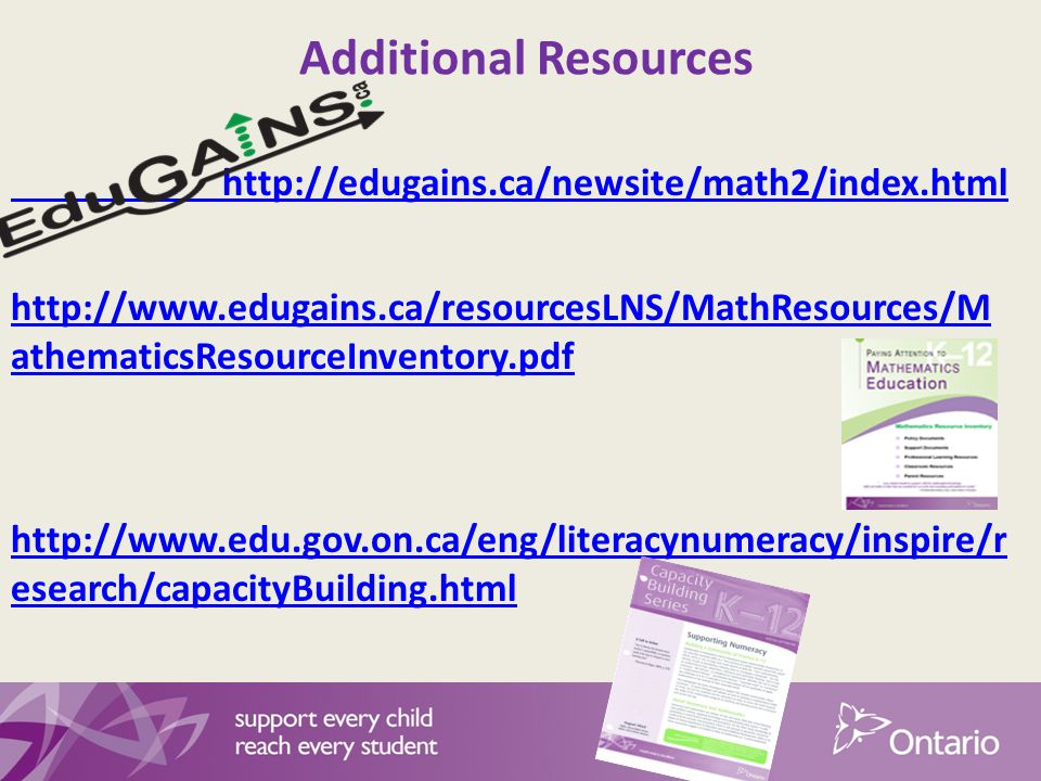 Additional Resources http://edugains.ca/newsite/math2/index.html http://www.edugains.ca/resourcesLNS/MathResources/M athematicsResourceInventory.pdf http://www.edu.gov.on.ca/eng/literacynumeracy/inspire/r esearch/capacityBuilding.html