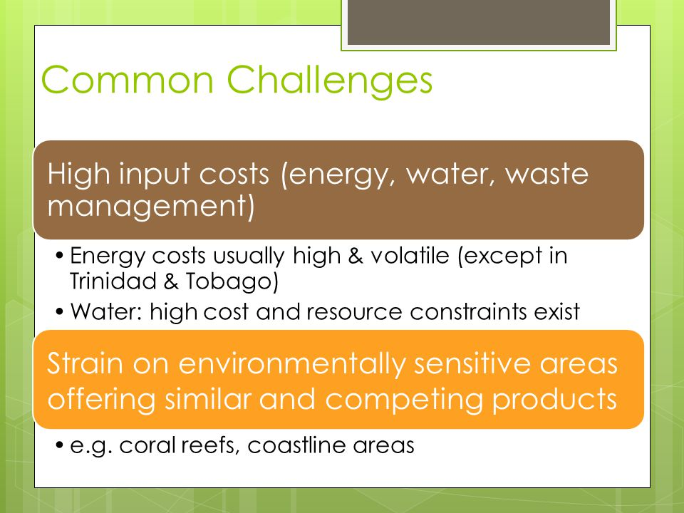 Common Challenges High input costs (energy, water, waste management) Energy costs usually high & volatile (except in Trinidad & Tobago) Water: high co