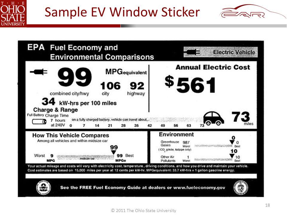© 2011 The Ohio State University Sample EV Window Sticker 18