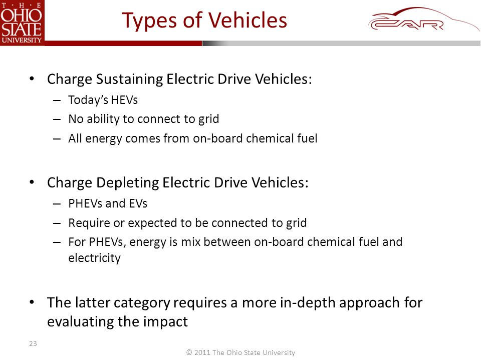 © 2011 The Ohio State University Types of Vehicles Charge Sustaining Electric Drive Vehicles: – Today's HEVs – No ability to connect to grid – All energy comes from on-board chemical fuel Charge Depleting Electric Drive Vehicles: – PHEVs and EVs – Require or expected to be connected to grid – For PHEVs, energy is mix between on-board chemical fuel and electricity The latter category requires a more in-depth approach for evaluating the impact 23