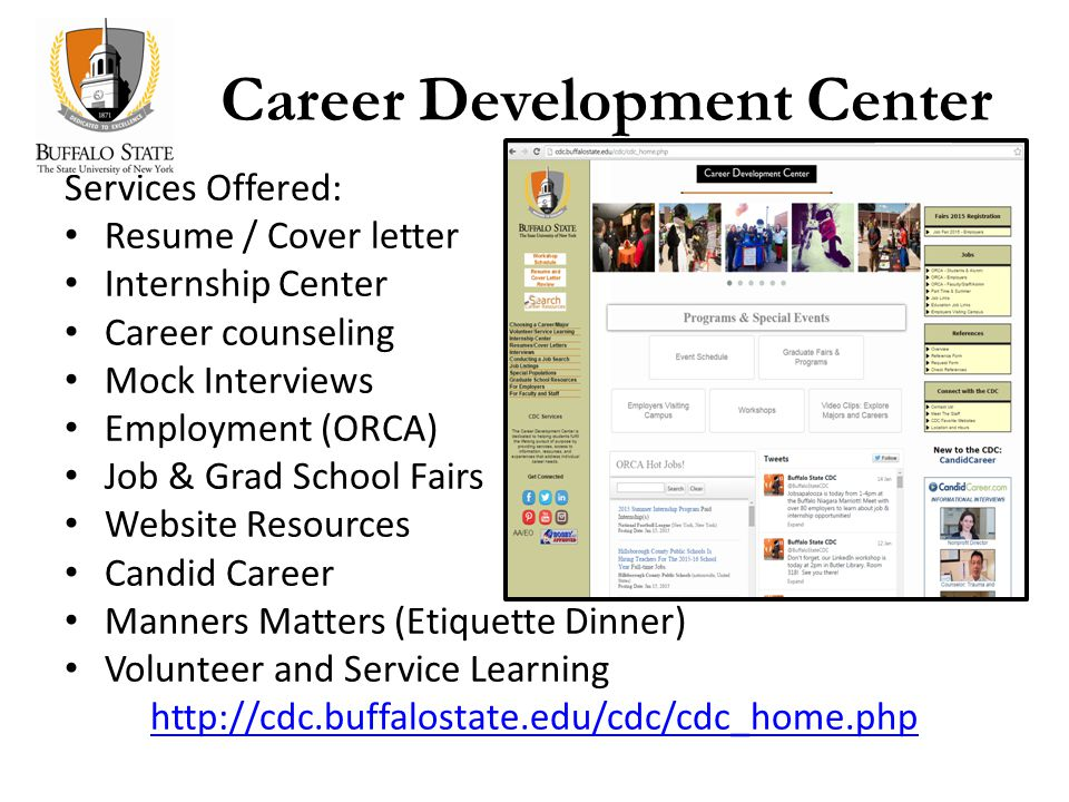 Career Development Center Services Offered: Resume / Cover letter Internship Center Career counseling Mock Interviews Employment (ORCA) Job & Grad School Fairs Website Resources Candid Career Manners Matters (Etiquette Dinner) Volunteer and Service Learning http://cdc.buffalostate.edu/cdc/cdc_home.php