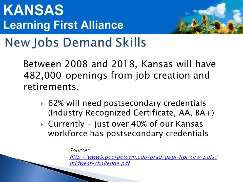 Between 2008 and 2018, Kansas will have 482,000 openings from job creation and retirements.