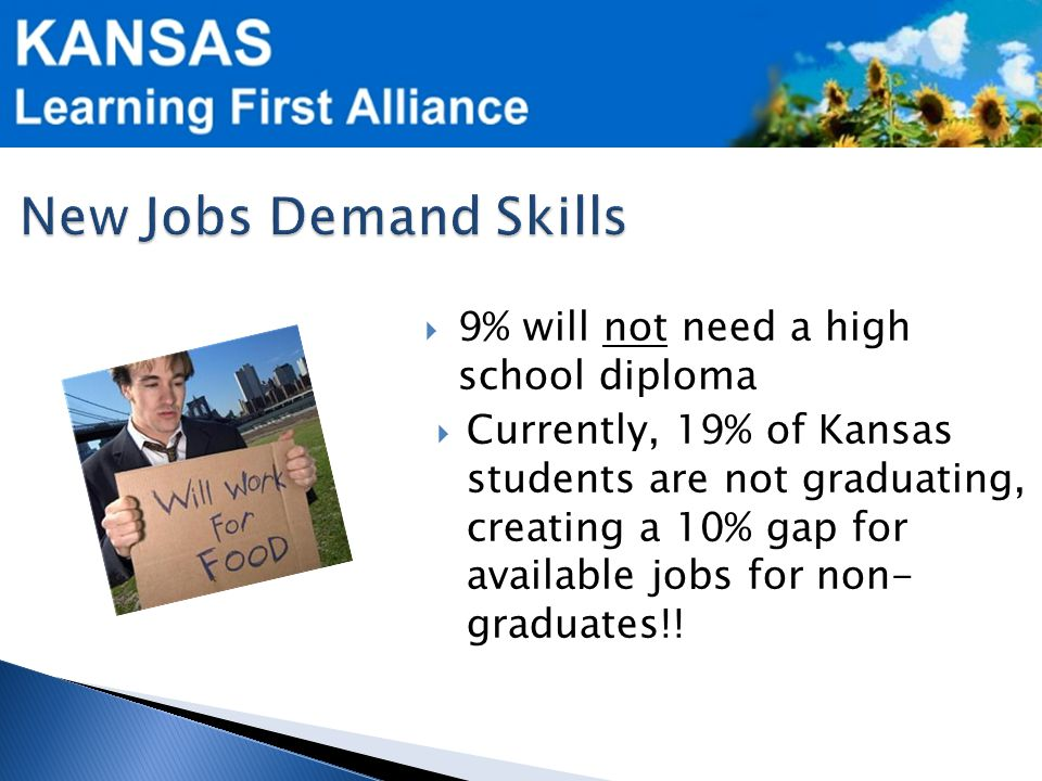  9% will not need a high school diploma  Currently, 19% of Kansas students are not graduating, creating a 10% gap for available jobs for non- graduates!!