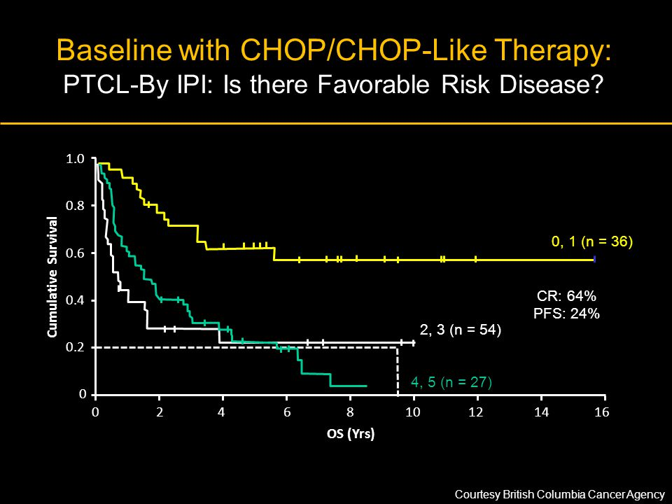 Baseline with CHOP/CHOP-Like Therapy: PTCL-By IPI: Is there Favorable Risk Disease? OS (Yrs) Cumulative Survival 0 0.2 0.4 0.6 0.8 1.0 0246810121416 C