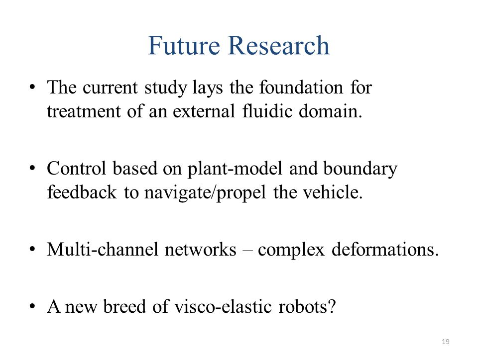 Future Research The current study lays the foundation for treatment of an external fluidic domain.