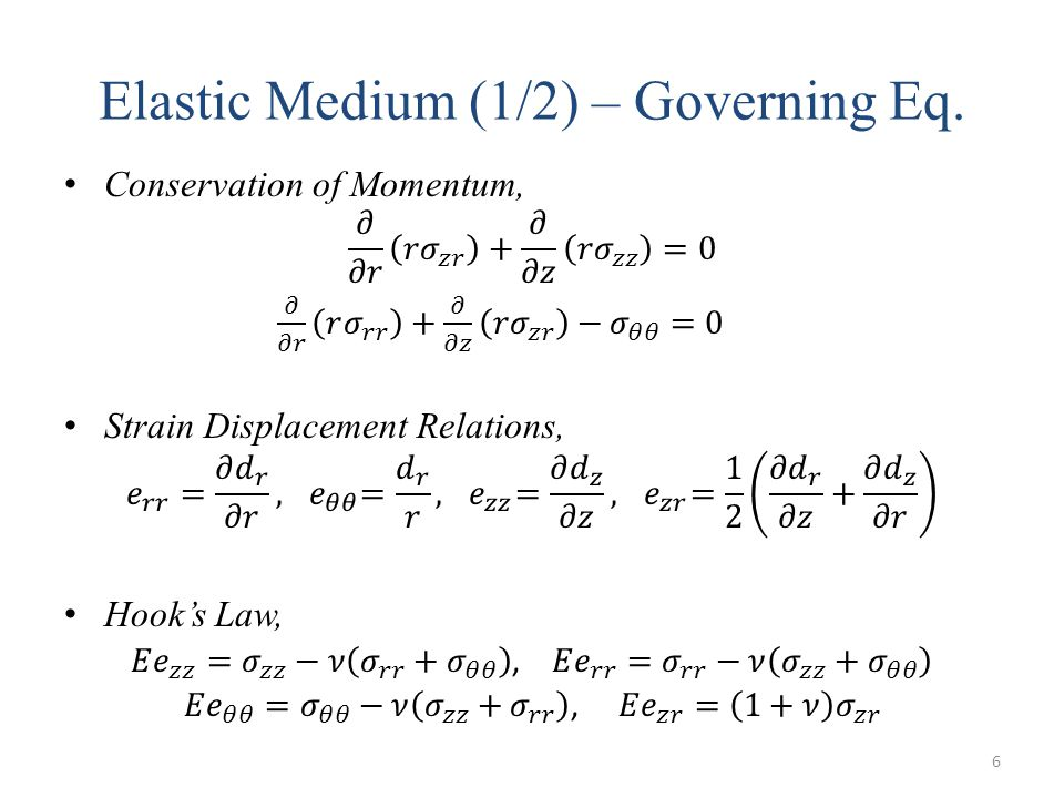 Elastic Medium (1/2) – Governing Eq. 6