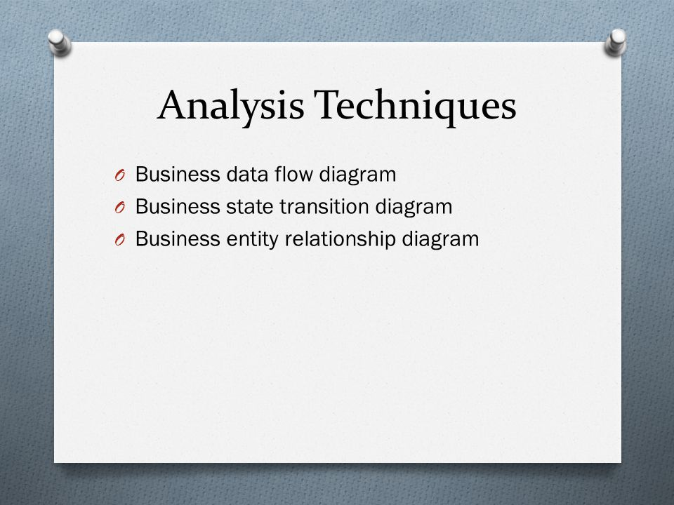 Analysis Techniques O Business data flow diagram O Business state transition diagram O Business entity relationship diagram