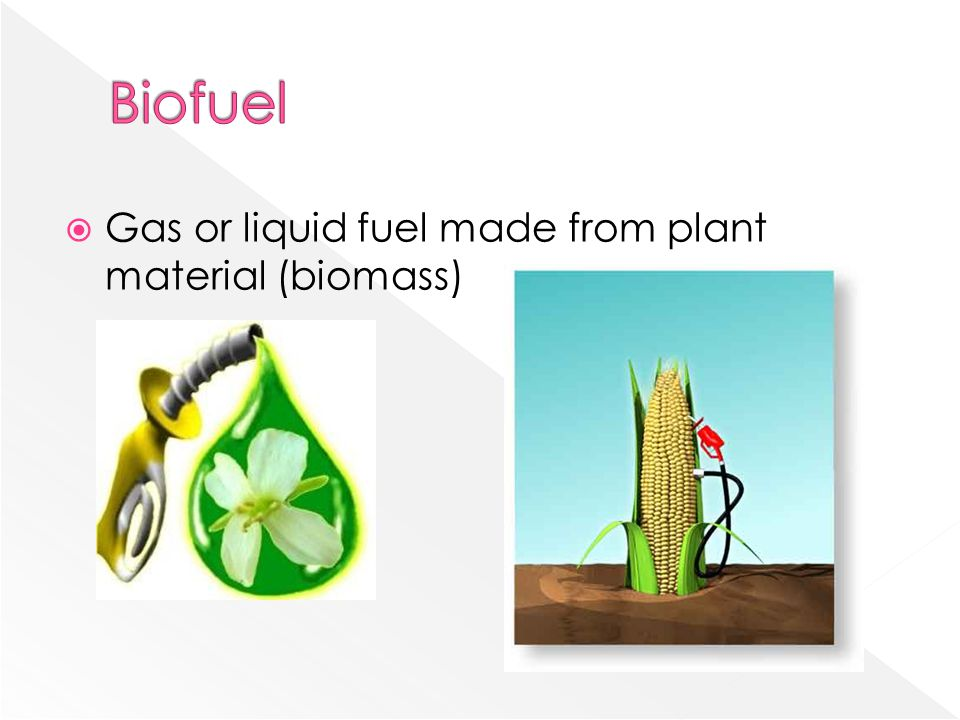  Gas or liquid fuel made from plant material (biomass)