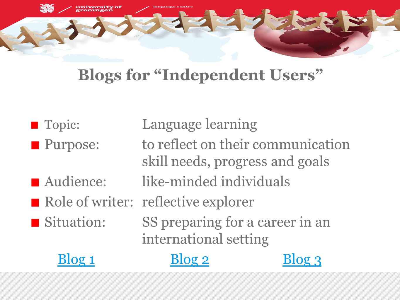 Blogs for Independent Users Topic: Language learning Purpose: to reflect on their communication skill needs, progress and goals Audience:like-minded individuals Role of writer:reflective explorer Situation:SS preparing for a career in an international setting Blog 1Blog 2Blog 3