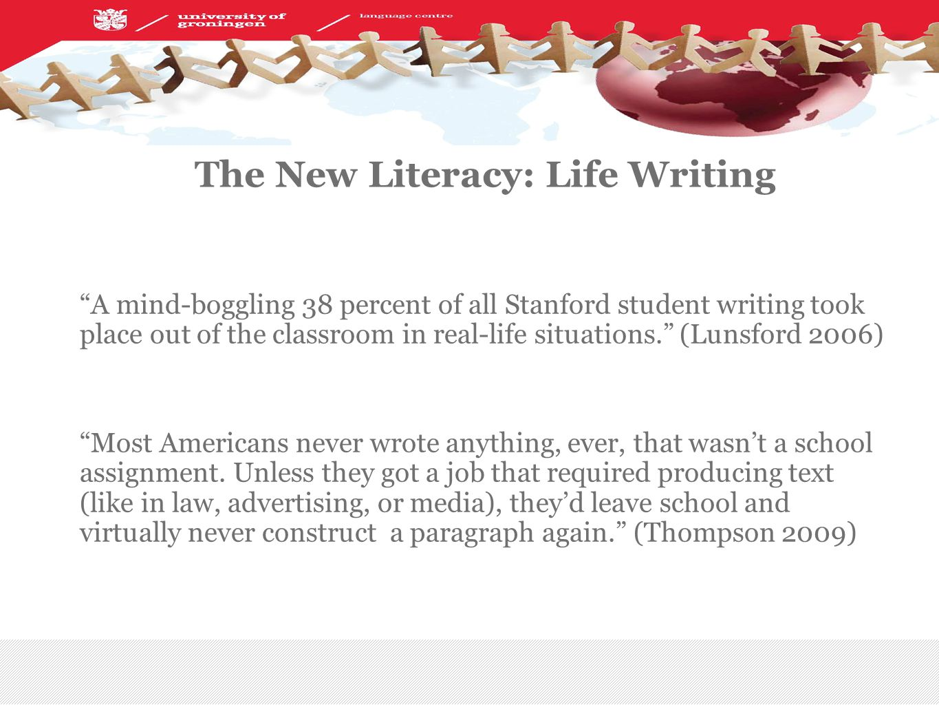 | The New Literacy: Life Writing A mind-boggling 38 percent of all Stanford student writing took place out of the classroom in real-life situations. (Lunsford 2006) Most Americans never wrote anything, ever, that wasn't a school assignment.
