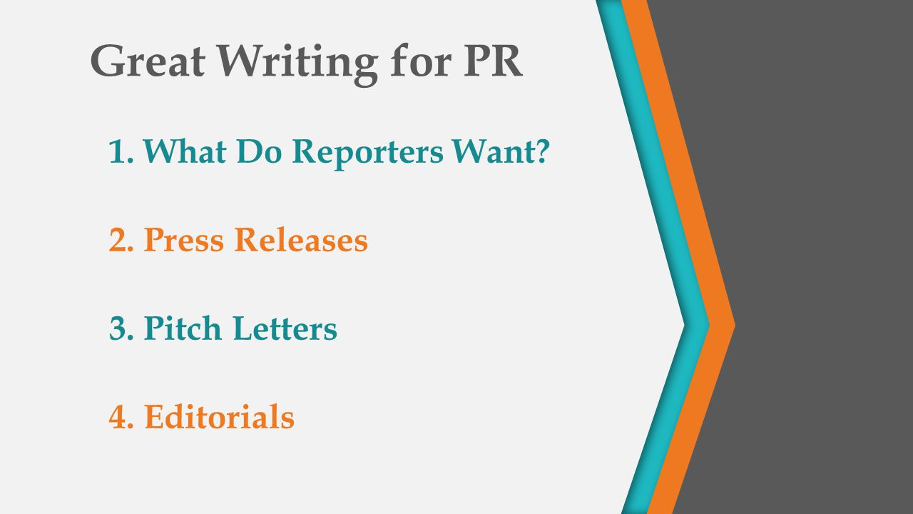 Great Writing for PR 1. What Do Reporters Want 2. Press Releases 3. Pitch Letters 4. Editorials