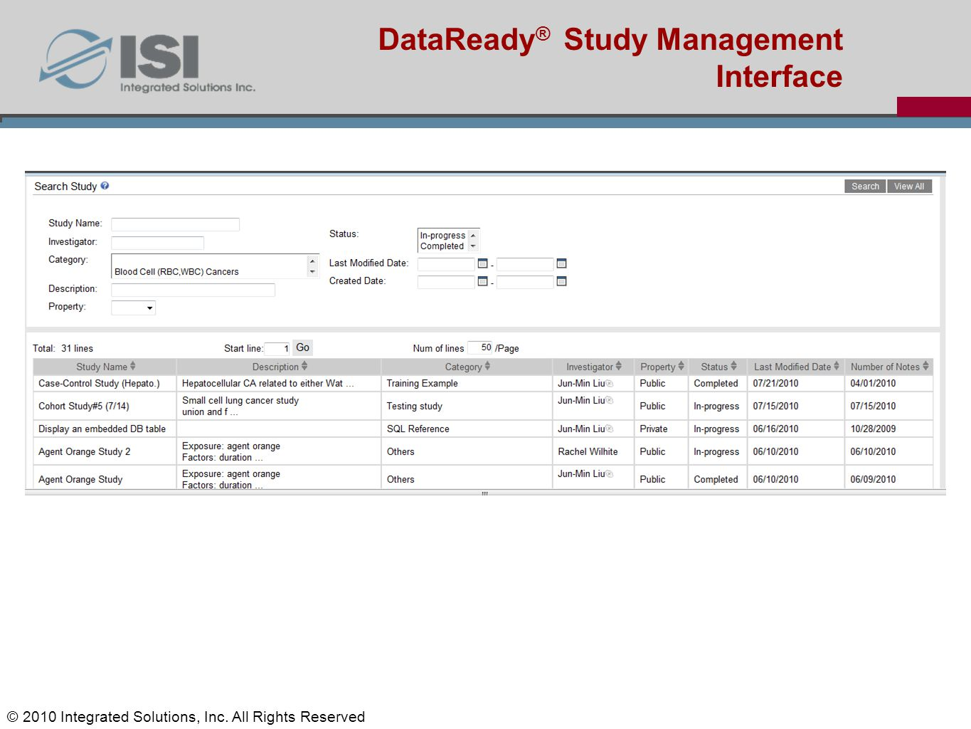 Jun-Min Liu's Status report DataReady ® Study Management Interface © 2010 Integrated Solutions, Inc. All Rights Reserved