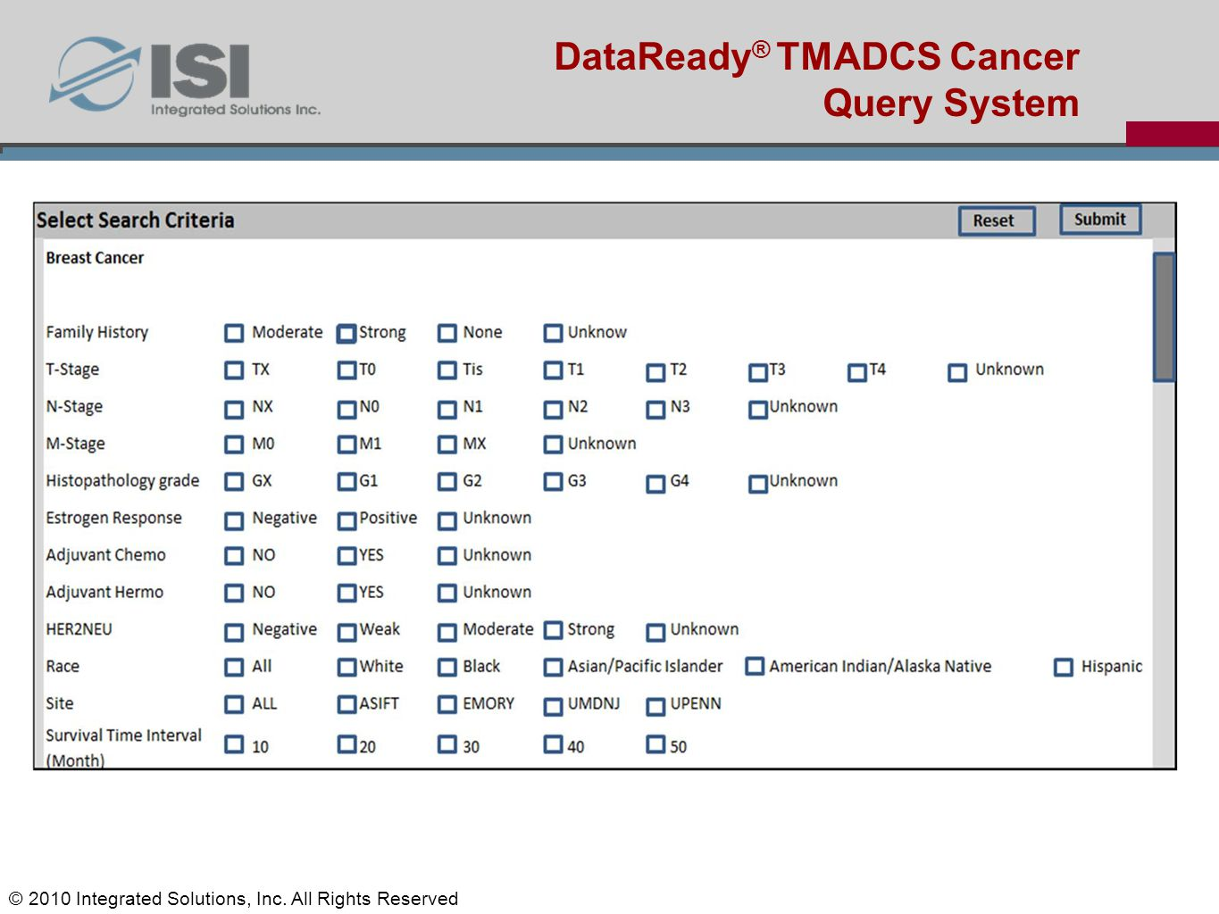 Jun-Min Liu's Status report DataReady ® TMADCS Cancer Query System © 2010 Integrated Solutions, Inc. All Rights Reserved