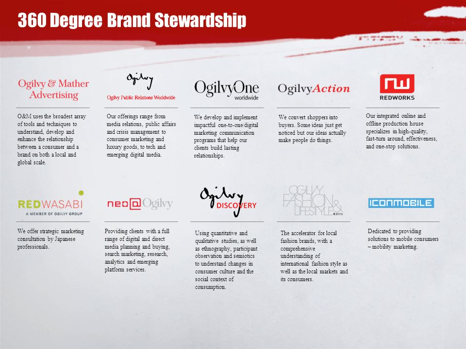 360 Degree Brand Stewardship O&M uses the broadest array of tools and techniques to understand, develop and enhance the relationship between a consumer and a brand on both a local and global scale.