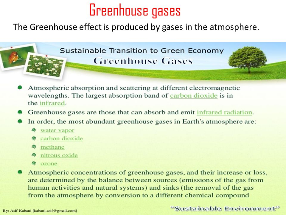 Greenhouse gases The Greenhouse effect is produced by gases in the atmosphere.