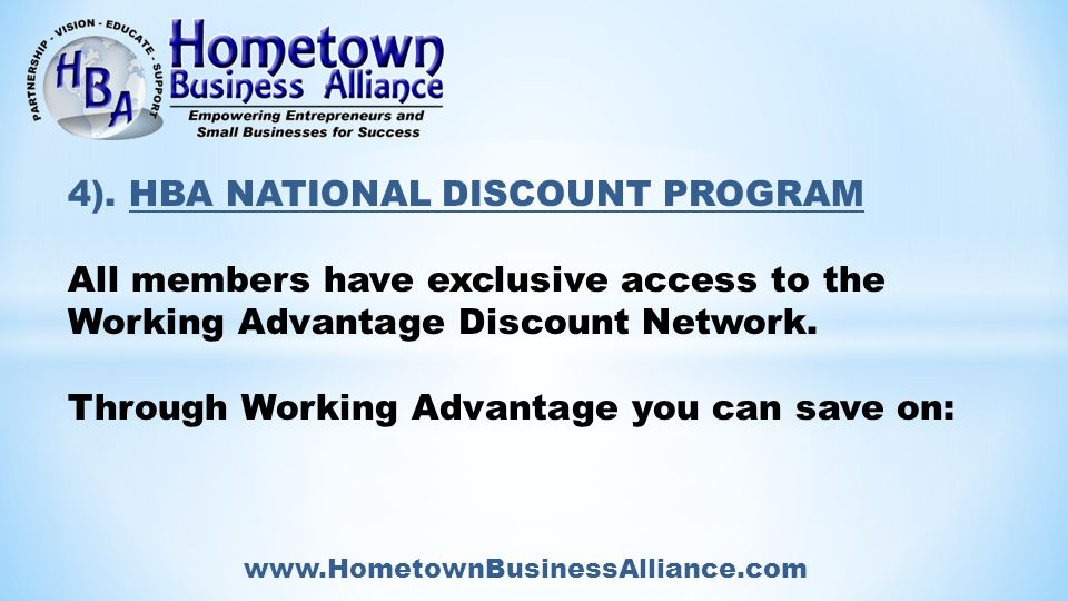 www.HometownBusinessAlliance.com 4).