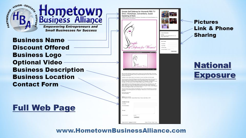 www.HometownBusinessAlliance.com National Exposure Pictures Link & Phone Sharing National Exposure Business Name Discount Offered Business Logo Optional Video Business Description Business Location Contact Form Full Web Page