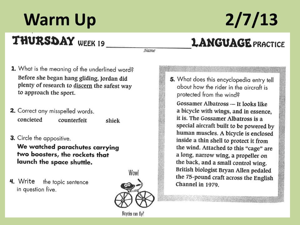 Warm Up 2/7/13 Write