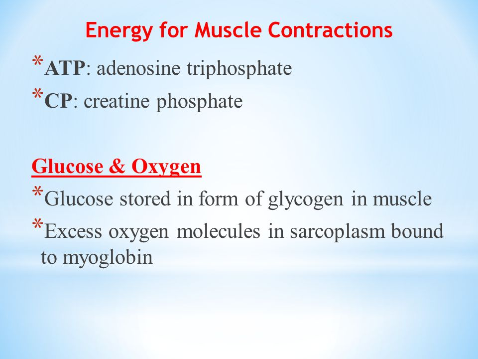 Energy for Muscle Contractions * ATP: adenosine triphosphate * CP: creatine phosphate Glucose & Oxygen * Glucose stored in form of glycogen in muscle * Excess oxygen molecules in sarcoplasm bound to myoglobin
