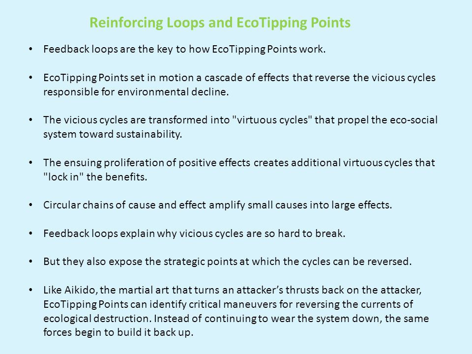 Website: EcoTipping Points: http://www.ecotippingpoints.org/ Sample Case Study— Community Gardens in New York City Video at: http://vimeo.com/102673594 Full description at: http://www.ecotippingpoints.org/our- stories/indepth/usa-new-york-community-garden-urban- renewal.html#Ingredients http://www.ecotippingpoints.org/http://vimeo.com/102673594http://www.ecotippingpoints.org/our- stories/indepth/usa-new-york-community-garden-urban- renewal.html#Ingredients