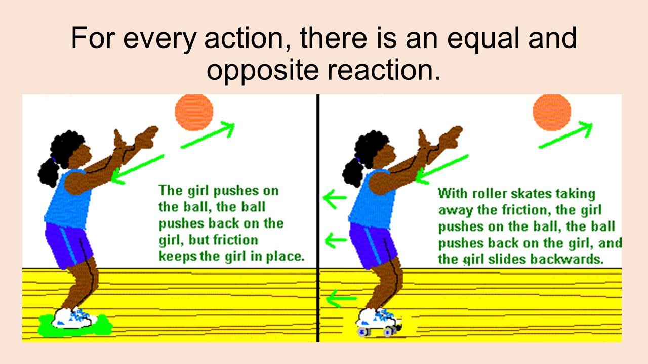 The baseball applies a force the bat (an action); and the bat applies a force to the ball (the reaction).