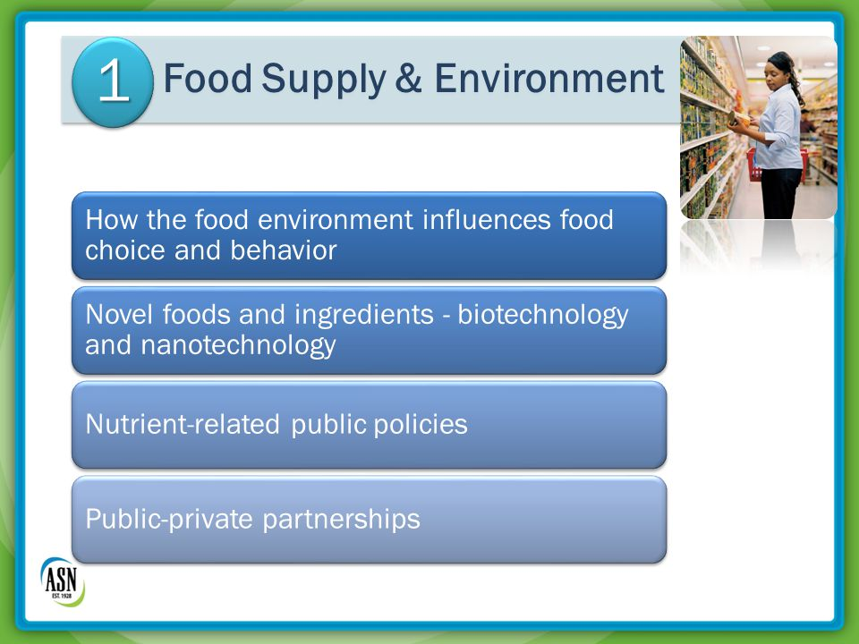 How the food environment influences food choice and behavior Novel foods and ingredients - biotechnology and nanotechnology Nutrient-related public policiesPublic-private partnerships Food Supply & Environment 1