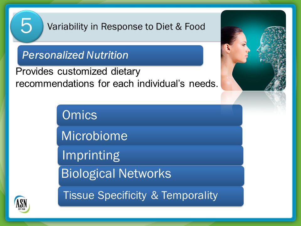 Variability in Response to Diet & Food 5 Personalized Nutrition Provides customized dietary recommendations for each individual's needs.