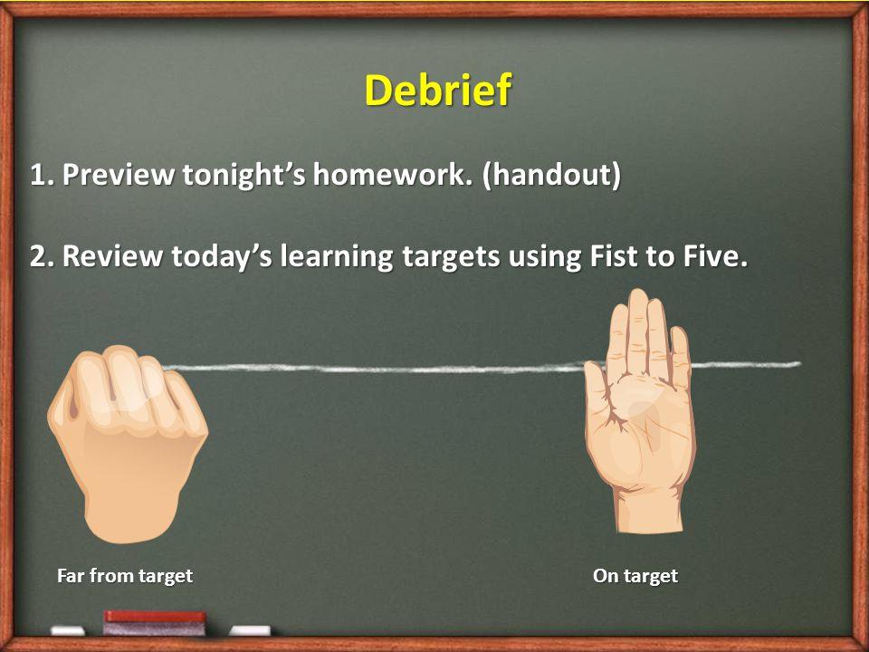 Debrief 1.Preview tonight's homework.