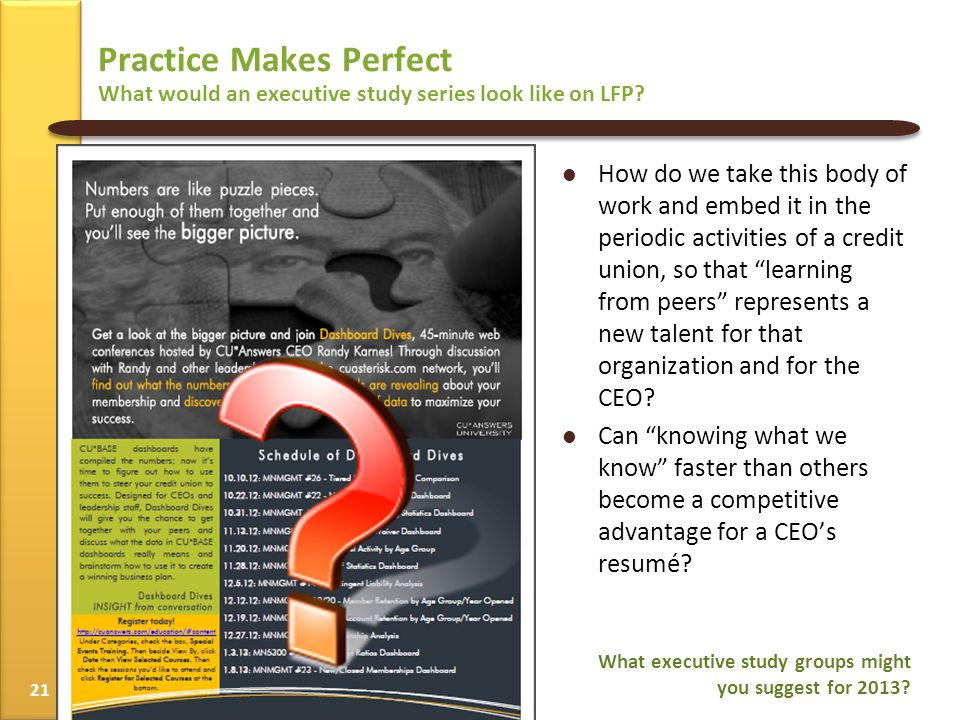 Practice Makes Perfect What would an executive study series look like on LFP.