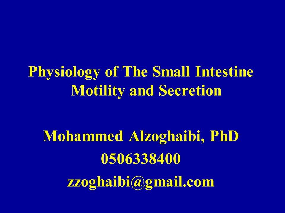 Physiology of The Small Intestine Motility and Secretion Mohammed Alzoghaibi, PhD 0506338400 zzoghaibi@gmail.com