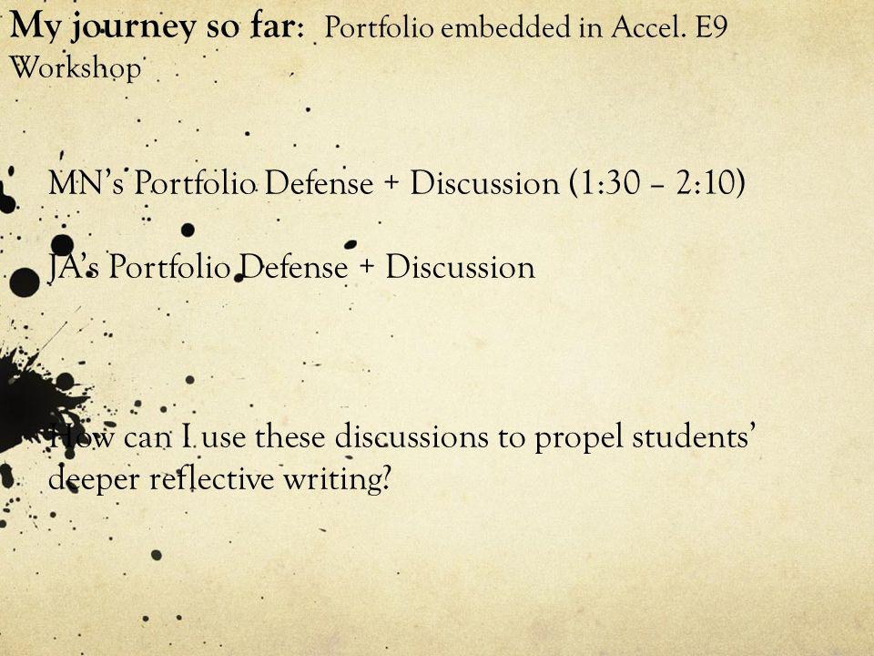 My journey so far : Portfolio embedded in Accel.