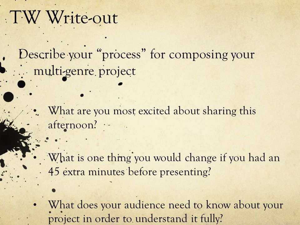 """TW Write-out Describe your """"process"""" for composing your multi-genre project What are you most excited about sharing this afternoon? What is one thing"""