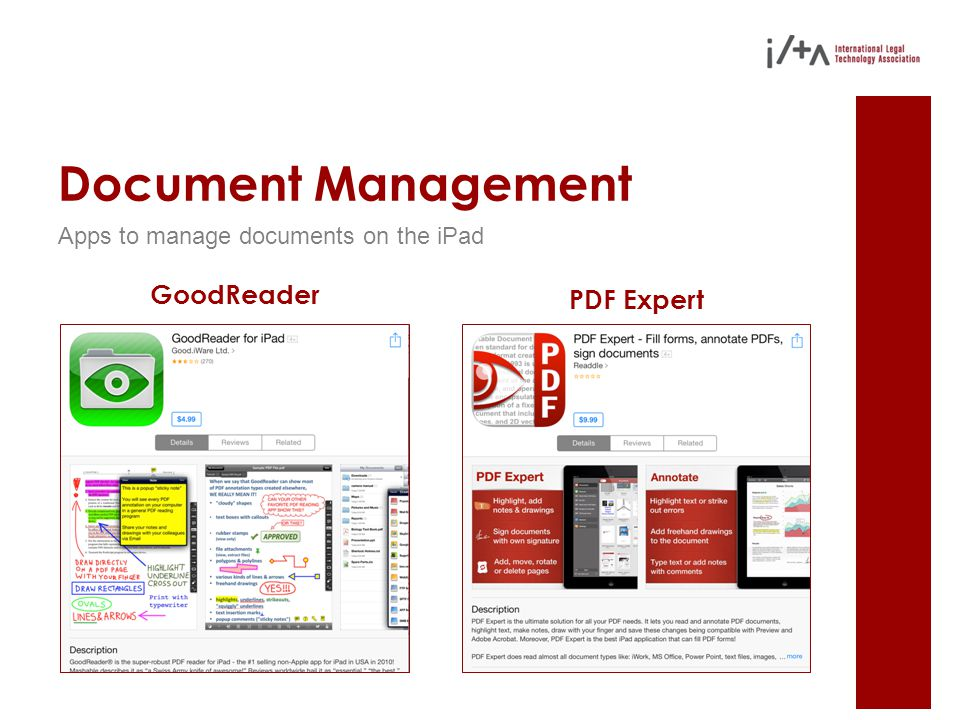 Document Management Apps to manage documents on the iPad GoodReader PDF Expert
